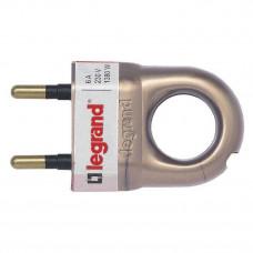 Вилка 2К - Legrand Элиум - 6 А - с кольцом - пластик - бронзовый 050164