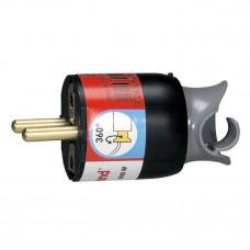 Вилка 2К+3 - Legrand Элиум - 16 А - с поворотным механизмом - винтовой зажим - чёрный 050173