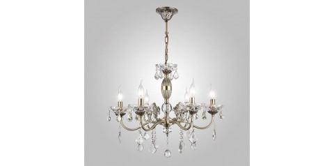 10005/6 / подвесной светильник /   античная бронза/прозрачный хрусталь Strotskis
