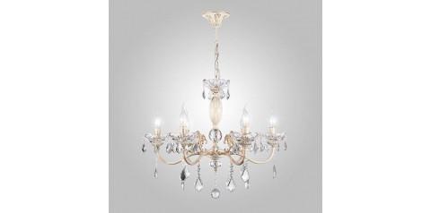 10005/6 / подвесной светильник /   белый с золотом/прозрачный хрусталь Strotskis