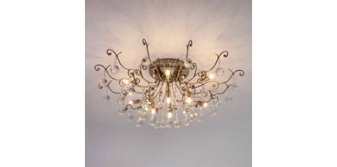 10042/12 / потолочный светильник /   античная бронза/прозрачный хрусталь