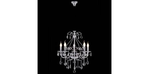 10050/5 / подвесной светильник /   белый с серебром/прозрачный хрусталь Strotskis