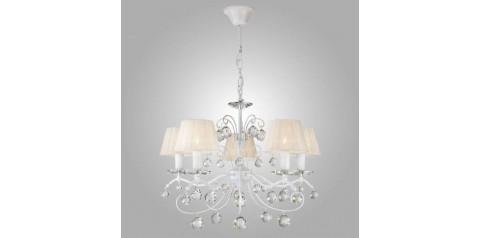 10058/5 / подвесной светильник /   белый с золотом/прозрачный хрусталь Strotskis