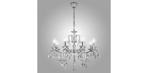 10059/8 / подвесной светильник /   хром/прозрачный хрусталь Strotskis