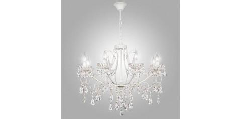 10061/8 / подвесной светильник /   белый с золотом/прозрачный хрусталь Strotskis