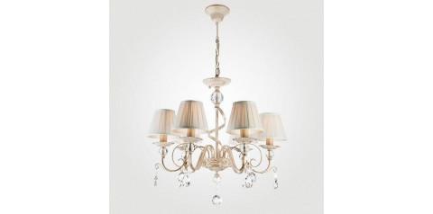 10074/6 / подвесной светильник /   белый с золотом/прозрачный хрусталь