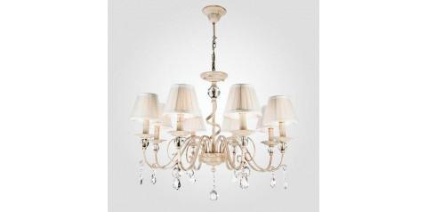 10074/8 / подвесной светильник /   белый с золотом/прозрачный хрусталь