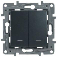 Legrand Выключатель-переключатель двухклавишный, с подсветкой 10A 250В антрацит Etika Plus Legrand 672616