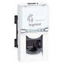 Розетка телефонная RJ11 1 модуль белая Mosaic Legrand 078730